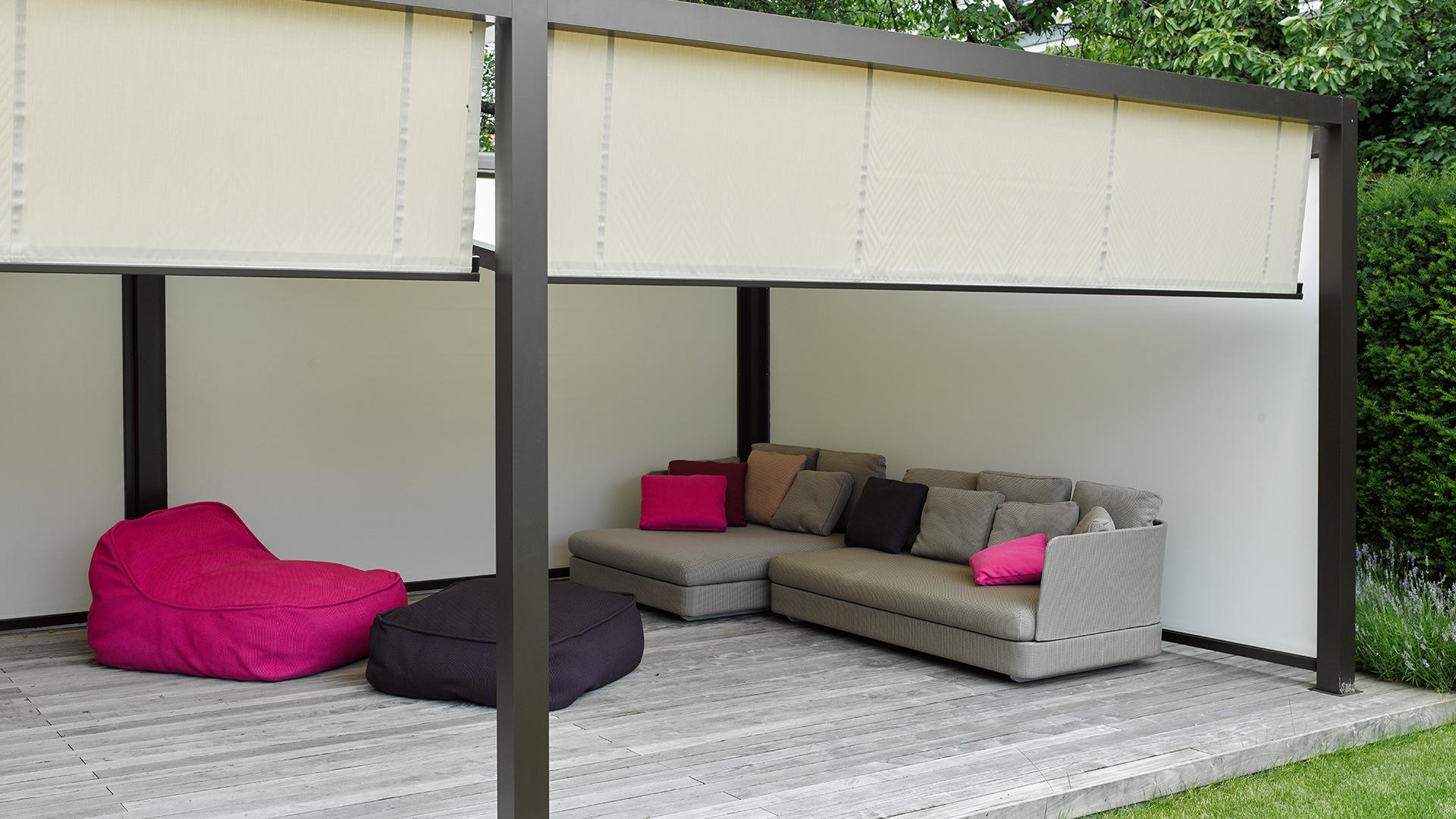 Sonnenschutz fur freisitz und garten markisen zanker for Markise balkon mit tapeten wohnzimmer modern grau