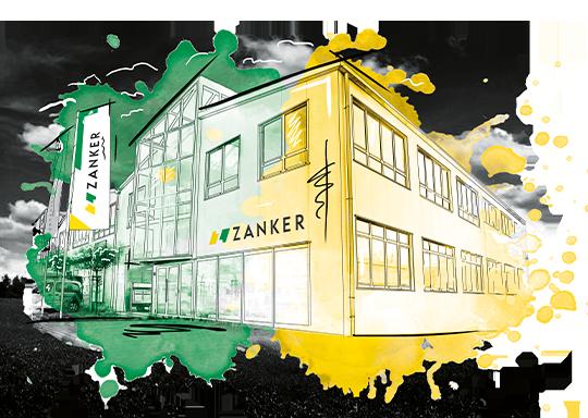 Zeichnung von dem Zanker Firmengebäude