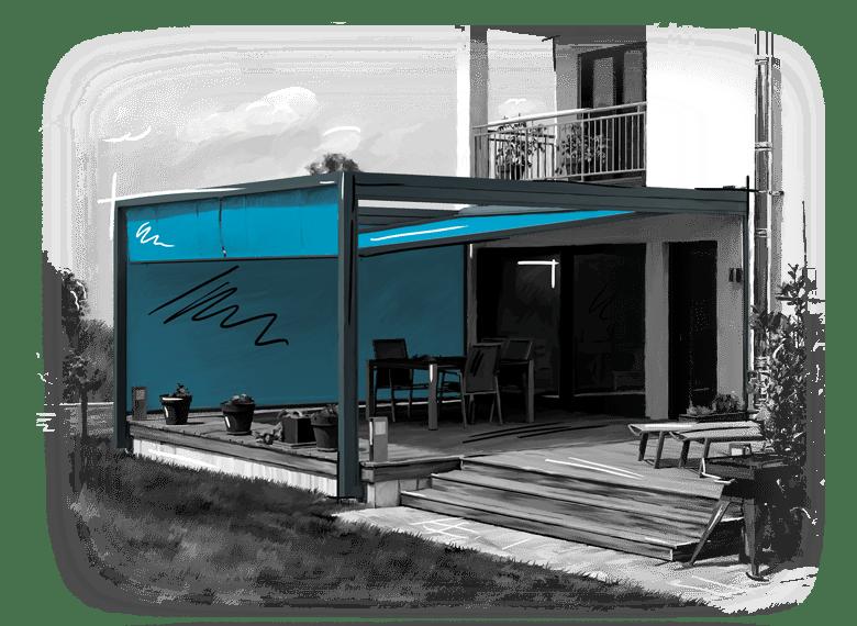 Lounge-Beschattung Zanker Velero in türkis